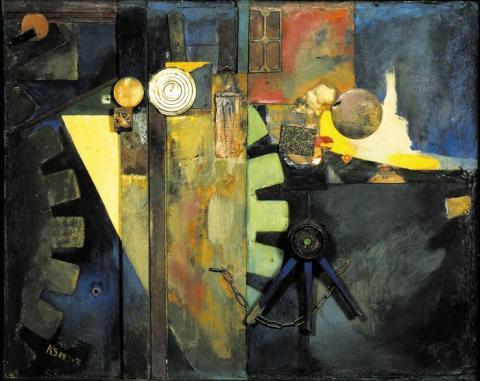 Κουρτ Σβίττερς, «Πίνακας με τροχό», 1920