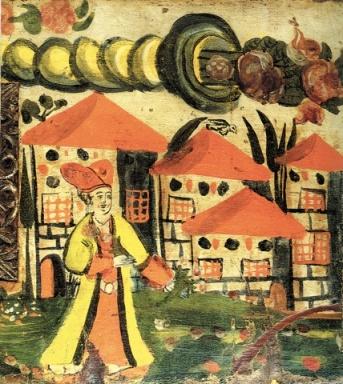 Aπό ζωγραφικό κάλυμμα κασέλας. Σάμος, 18ος αιώνας (Μουσείο Μπενάκη)