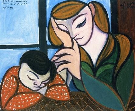 """Αντρέ Φουζερώ, """"Μητέρα και παιδί με κόκκινη ποδιά"""""""