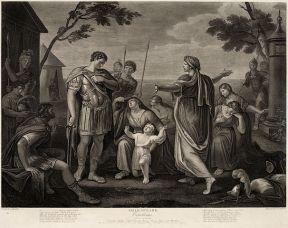 """Kοριολανός¨"", Πράξη Ε, σκηνή ΙΙΙ. Γκραβούρα του J. Caldwell, από έναν πίνακα ρου G. Hamilton"