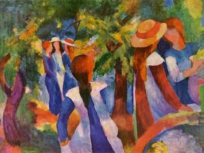 Κορίτσια κάτω από τα δδέντρα, 1914