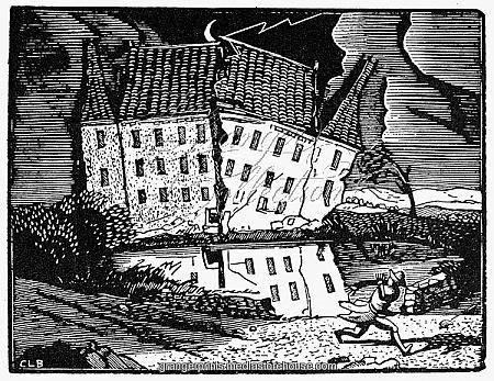 Ξυλογραφία του Constantle Breton, εικονογράφηση για το βιβλίο του Έντγαρ Αλαν Ποε «Η πτώση του οίκου των Ώσερ»