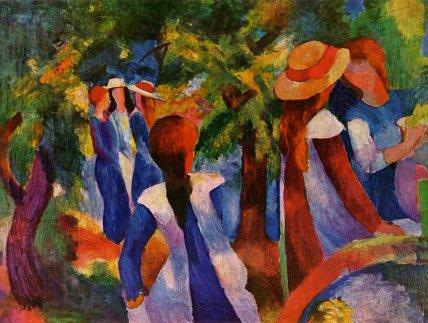 Άουγκουστ Μάκε, «Κορίτσια κάτω από τα δέντρα», 1914