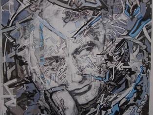 Ανέκδοτο πορτραίτο του Ζακ Ντερριντά (λεπτομέρεια), 1998, έργο των Μονίκ Στομπιενιά και Τιερύ Μπριώ.