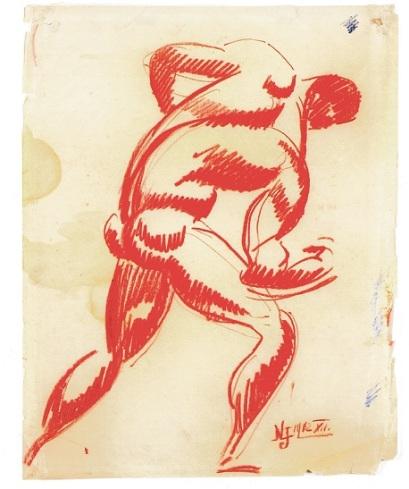 Nemes Lampérth Jόzsef, «Πλάτη γυμνού κόκκινουάντρα», 1912