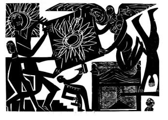 Ξυλογραφία του Hap Grieshaber, 1964