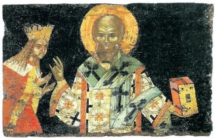 Οι κτήτορες της Μονής Διονυσίου, Νήφων ο Β΄, πατριάρχης Κωνσταντινουπόλεως, και ο βοεβόδας της Βλαχίας Νεαγόκε Μπασαράμπ. Φορητή εικόνα της Μονής Διονυσίου, Άγιον Όρος,16ος αιώνας.