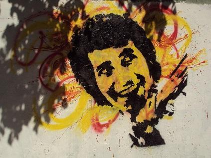 Βίκτορ Χάρα. Γκράφιτι σε τοίχο του Σαντιάγο. Φωτογραφία του «Eterno Resplandor de una mente se cuerpo», από το flickr