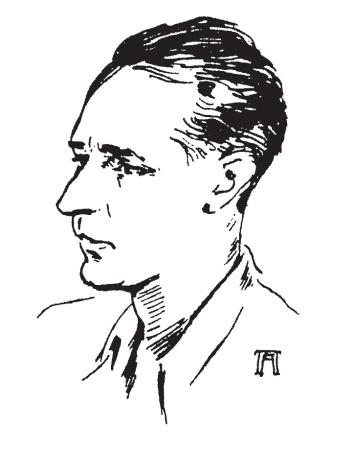 Κ. Θ. Δημαράς.Σκίτσο του Αντώνη Πρωτοπάτση,από το περιοδικό «Ελεύθερα Γράμματα»,9.11.1945