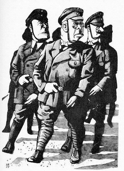 """«Η παλαιά φρουρά». Χαρακτικό του Καρλ Ρέσινγκ, από το λεύκωμα """"Η προκατάληψή μου ενάντια στην εποχή μας"""", Βερολίνο 1932."""