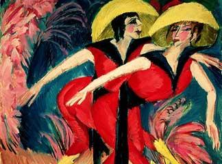 """Ερνστ Λούντβιχ Κίρχνερ, """"Χορεύτριες στα κόκκινα"""", 1914"""