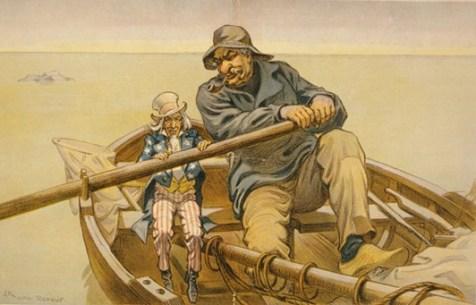 «Χέρι βοηθείας»: ο μπαρμπα-Σαμ και ο J.P. Morgan  κωπηλατούν. Το πελώριο μέγεθος του Morgan αντανακλά το ανάστημά του και τη σημασία των τραπεζικών δραστηριοτήτων του στις ΗΠΑ.  Πολιτική γελοιογραφία (Puck Magazine, 26.4.1911), που παρωδεί τον ομότιτλο πίνακα του Emile Renouf, 1881 (βλ. παρακάτω)