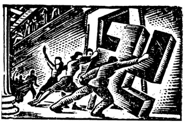 Χαρακτικό του Γ. Στεφανίδη, από παράνομο έντυπο της Κατοχής