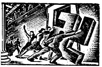 Χαρακτικό του Γιάννη Στεφανίδη, από παράνομο έντυπο της Κατοχής
