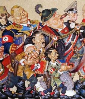 Πίνακας του αντιφασίστα πολωνοεβραίου ζωράφου Άρθουρ Ζικς, που εικονίζει τον Χίτλερ και τον Γκαίμπελς να πορεύεται μαζί με γερμανούς μεγιστάνες του πλούτου (λεπτομέρεια, από το εξώφυλλο της «Μαρξιστικής Σκέψης», τόμ. 10).