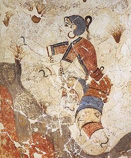 Οι κροκοσυλλέκτριες. Τοιχογραφία από το Ακρωτήρι τη προϊστορικ΄γς Σαντο