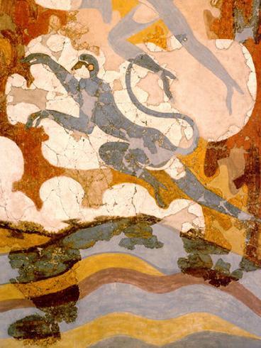 Οι κυανοπίθηκοι. Τοιχογραφία από το Ακρωτήρι της προϊστορικής Σαντορίνης