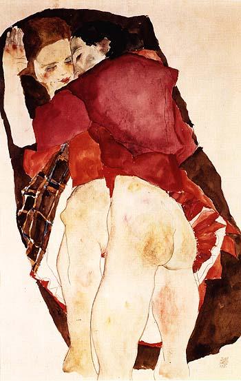 """Έγκον Σίλε, """"Δυο κορίτσια"""", 1911"""