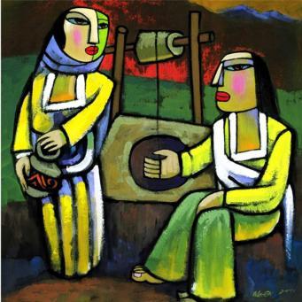 O Χριστός και η Σαμαρείτισσα. Έργο του κινέζου αγιογράφου Χε Κι, τέλη του 20ού αιώνα.
