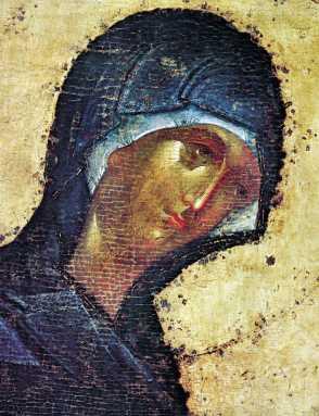 Παναγία, έργο του Θεοφάνη του Έλληνα, από τον καθεδρικό του Ευαγγελισμού της Θεοτόκου, Μόσχα (αρχές 15ου αιώνα).