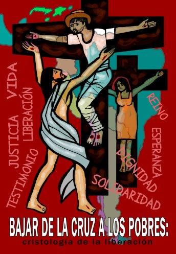Το εξώφυλλο του συλλογικού τόμου «Κατεβάζοντας τους φτωχούς από το σταυρό.Χριστολογία της απελευθέρωσης», έργο του Cerezo Barredo, του σημαντικότερου ζωγράφου της θεολογίας της απελευθέρωσης.