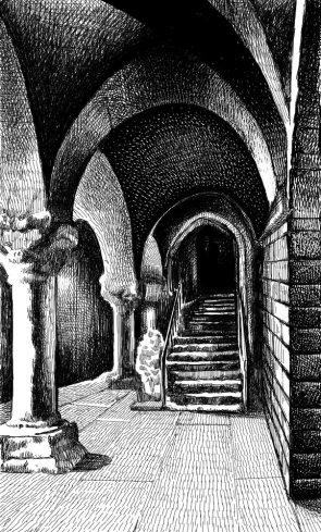 Η κρύπτη του Ακιλόν στο μοναστήρι του Σεν Μισέλ. Έργο του Γρηγόρη Τσιπλάκου (με βάση φωτογραφία που εικονογραφούσε κείμενο του Βάρναλη, στην «Πρόοδο των Αθηνών»)