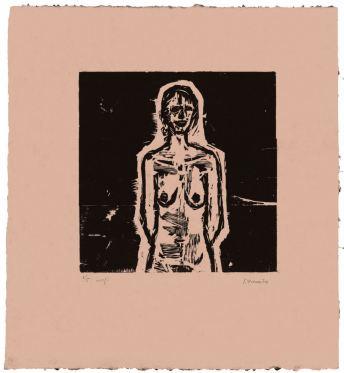 Γιάννης Ψυχοπαίδης, «Όρθιο γυμνό» (1965), από την έκθεση με χαρακτικά του, με τίτλο «Το κόκκινο και το μαύρο», που οργάνωσε το ΜΙΕΤ και συνεχίζεται μέχρι τις 31 Ιανουαρίου στο Μέγαρο Εϋνάρδου (Αγ. Κωνσταντίνου 20)