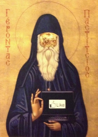 """""""Ο γέρων Παστίτσιος"""". Αγιογραφία του ιερομονάχου Παναγιώτου του Πετραλωνίτου,. Βρίσκεται στην Ιερά Σκήτη Βαλτετσίου"""