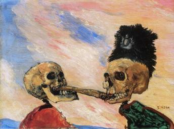 """Τζαίημς Ένσορ, """"Δυο σκελετοί παλεύουν για μια ρέγγα τουρσί"""", 1891"""
