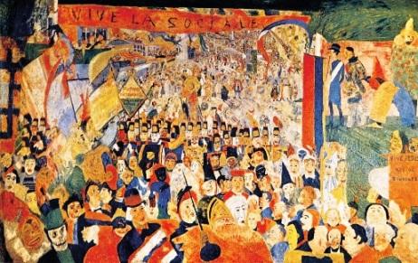 Τζαίημς Ένσορ, «Η είσοδος του Χριστού στις Βρυξέλλες, 1889. Στο μεγάλο πανώ διαβάζουμε«Viva la Sociale»