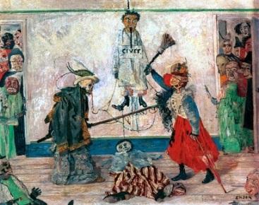 Τζέιμς Ένσορ, «Σκελετοί παλεύουν για το σώμα ενός κρεμασμένου», 1891