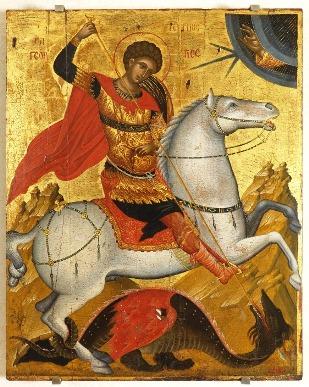 Ο Άγιος Γεώργιος έφιππος δρακοντοκτόνος τέλη 15ου αιώνα. Έργο άγνωστου ζωγράφου  του Χάνδακα (Βενετία, Ινστιτούτο Βυζαντινών και Μεταβυζαντινών Σπουδών).