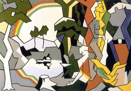 """Ρόι Λιχτενστάιν, """"Τοπίο με μορφές και ουράνιο τάξο"""". 1980"""
