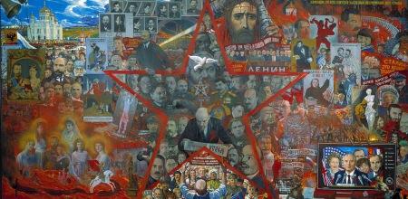 «Το μεγάλο πείραμα». Πίνακας του  Ιλία Γκλαζούνοφ (1990), εμπνευσμένο από τον αντισημιτικό μύθο των «Πρωτοκόλλων».