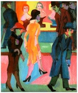 Ερνστ Κίρχνερ, «Σκηνή δρόμου από το παράθυρο ενός κουρείου», 1929