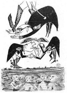 Σχέδιο του Μίνου Αργυράκη, από το λεύκωμα «Η πολιτεία έπλεε εις την μελανόλευκον».