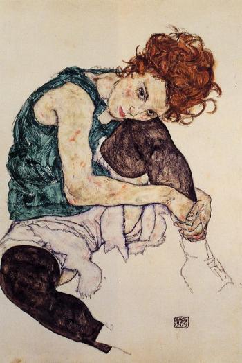 """Έγκον Σίλε, """"Καθιστή γυναίκα με λυγισμένα γόνατα"""", 1917"""