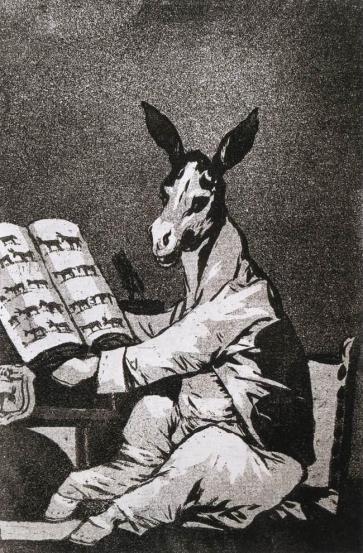 """Χαρακτικό του Γκόγια, από τη σειρά """"Ο ύπνος της λογικής γεννά τέρατα"""""""