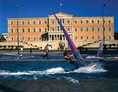 """Έργο του Δημήτρη Τσουμπλέκα, από την ενότητα """"Μελλοντική Αθήνα"""", 2004"""