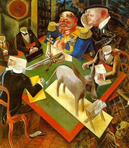 Τζωρτζ Γκρος, «Έκλειψη ηλίου», 1926. Το έργο είναι αλληγορία για τη δημοκρατία της Βαϊμάρης. Καπιταλιστές και στρατιωτικοί υπαγορεύουν στους ακέφαλους πολιτικούς τι να πράξουν, ενώ ο λαός (που τον συμβολίζει ο γάιδαρος με τις παρωπίδες) τρώει απλώς ό,τι του βάζουν μπροστά του