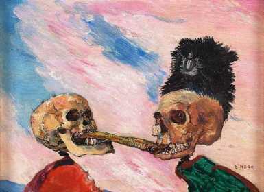 Τζαίημς Ένσορ, «Δυο σκελετοί παλεύουν για μια ρέγγα τουρσί», 1891