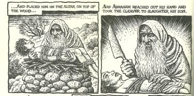 …επέθηκεν αυτόν επί το θυσιαστήριον επάνω των ξύλων…και εξέτεινεν Αβραάμ την χείρα αυτού λαβείν την μάχαιραν σφάξαι τον υιόν αυτού…