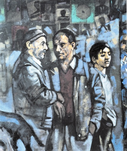 Kυριάκος Κατζουράκης, «Νυχτερινή περίπολος» (λεπτομέρεια). Από το λεύκωμα «Ο δρόμος προς τη Δύση. Η περιπέτεια της μετανάστευσης με ζωγραφική, κείμενα και ντοκουμέντα», Μεταίχμιο, Αθήνα 2001.
