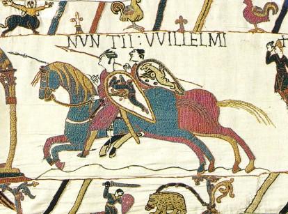 Mάχη του Χάστιγκς (1066). Οι Νορμανδοί, με επικεφαλής τον Γουλιέλμο Α΄ τον Κατακτητή, νικούν και κατακτούν την Αγγλία. Λεπτομέρεια από την περίφημη ταπισερί του Μπαγιώ.