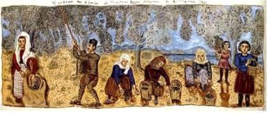 Θεόφιλου Χατζημιχαήλ,  «Το μάζεμα των ελαιών εν Μυτιλήνη»