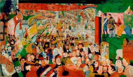 Τζαίημς Ένσορ, «Η είσοδος του Χριστού στις Βρυξέλλες, 1889. Στο μεγάλο πανώ διαβάζουμε: «Viva la Sociale»