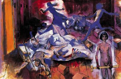 Έργο του Κυριάκου Κατζουράκη από το λεύκωμά του «Ο δρόμος προς τη Δύση», Μεταίχμιο, Αθήνα 2001.