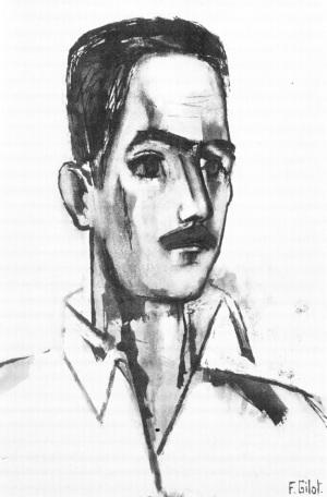 Ο Κώστας Αξελός. Πίνακας του F. Gilot