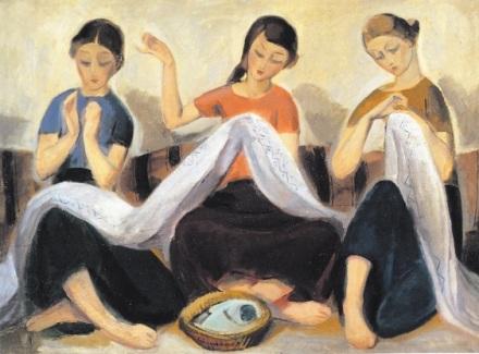 Γιώργος Γουναρόπουλος, «Κορίτσια που κεντούν», 1920-1922