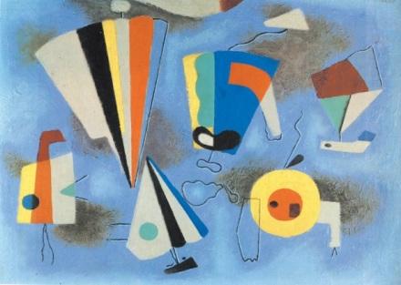 Βίλι Μπαουμάιστερ, «Μορφές σε μπλε φόντο», 1952